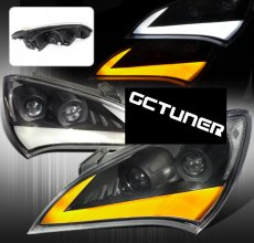 Streak Style Black Dual Projector Headlights with Clear Corner Lens