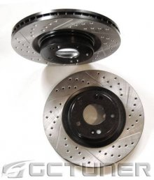 Front Pair Track Model Black Double Drilled and Slotted Rotors