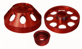 Torque Solution Lightweight Pulley Set Genesis Coupe 3.8 2010 - 2016 (Red)