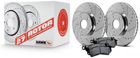 Hawk Performance Front BREMBO Sector 27 Rotors with Pads Genesis Coupe 2010 - 2015