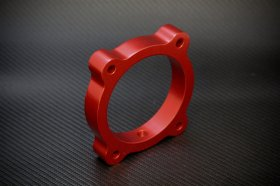 Torque Solution Red Throttle Body Spacer Hyundai Genesis V6 3.8L 2013 - 2014