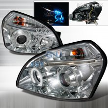Spec-D HALO LED PROJECTOR CHROME FOR 2004 TO 2007 HYUNDAI TUCSON
