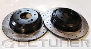Rear Pair Track Model Black Double Drilled and Slotted Rotors Rear Pair Track Model Black Double Drilled and Slotted Rotors