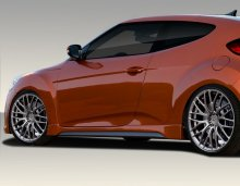 2012-2014 Hyundai Veloster Duraflex Turbo Look Side Skirts Rocker Panels - 2 Piece