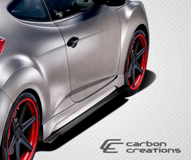 2012-2014 Hyundai Veloster Turbo Carbon Creations GT Racing Side Splitters - 2 Piece - Click Image to Close