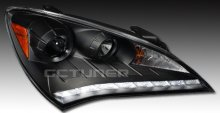 Spec-D Headlights R8 Style Leds - Black 2010 - 2012 Genesis Coupe