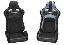 Corbeau Sportline RRX Reclinable Seat in Black Vinyl with Grey Carbon Vinyl