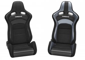 Corbeau Black Cloth/Black Carbon Fiber VInyl Sportline RRX Reclinable Seat - PAIR