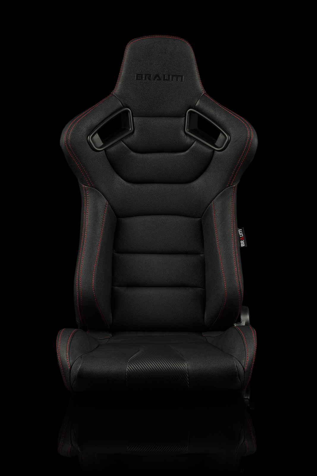 Braum Elite Black Leatherette Carbon Fiber Mixed Sport Reclining Seats - Red Stitches - Pair