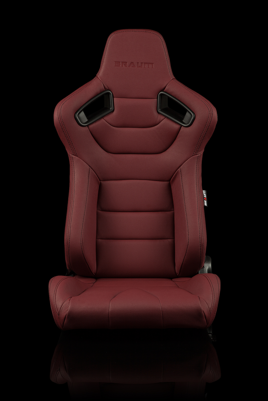 Braum Elite Maroon Leatherette Carbon Fiber Mixed Sport Reclining Seats - Pair