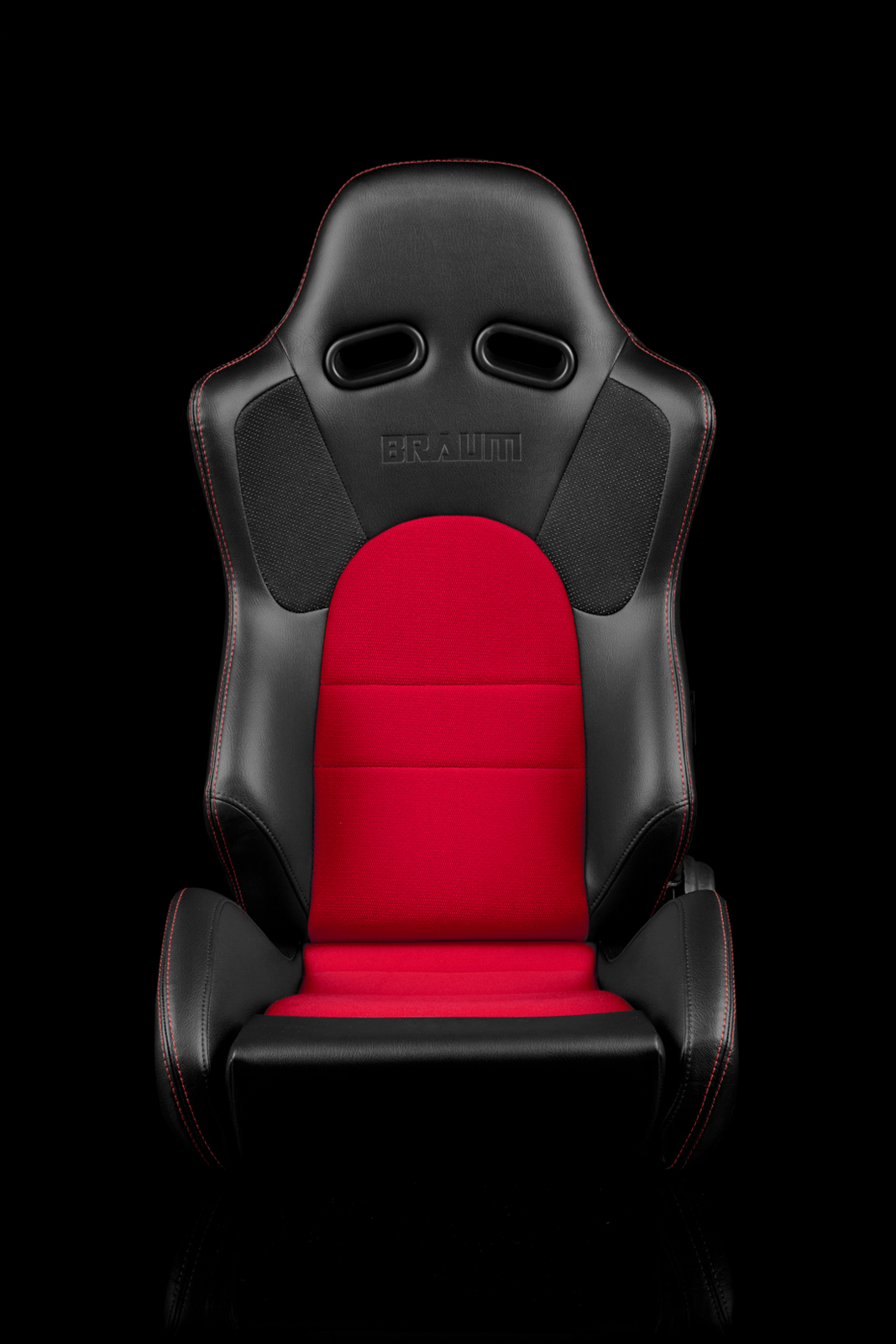 Braum Advan Black Leatherette Red Insert Fabric Carbon Fiber Mixed Sport Reclining Seats - Red Stitches - Pair