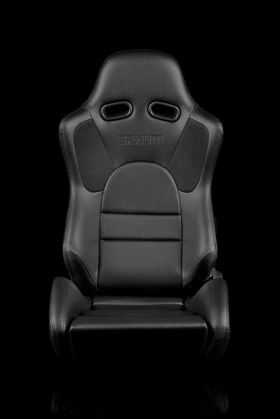 Braum Advan Black Leatherette Black Insert Fabric Carbon Fiber Mixed Sport Reclining Seats - Black Stitches - Pair