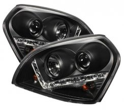 Hyundai Tucson 04-09 DRL LED Projector Headlights - Black