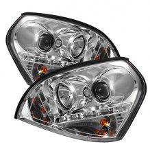 Hyundai Tucson 04-09 DRL LED Projector Headlights - Chrome